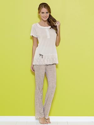 Комплект кофта и брюки MARIPOSA. Цвет: кремовый
