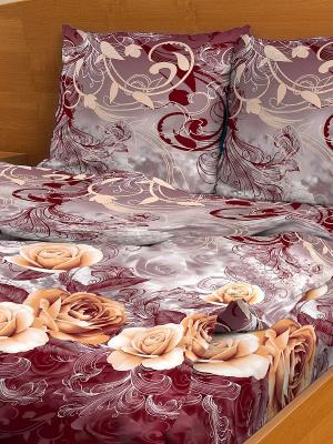 Комплект постельного белья Letto. Цвет: бордовый