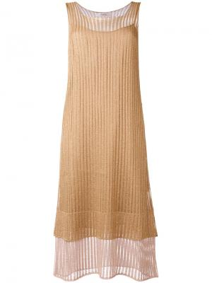 Многослойное платье миди Jucca. Цвет: коричневый