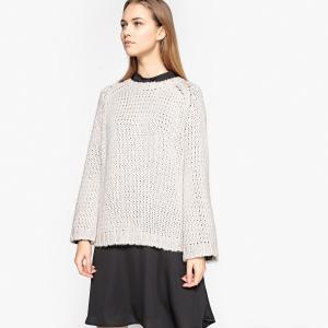 Пуловер с круглым вырезом из плотного трикотажа SCHOOL RAG. Цвет: белый