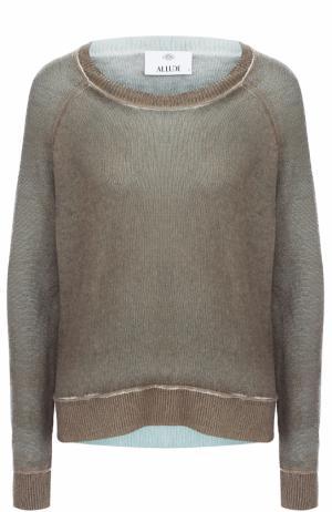 Кашемировый пуловер свободного кроя с круглым вырезом Allude. Цвет: серый