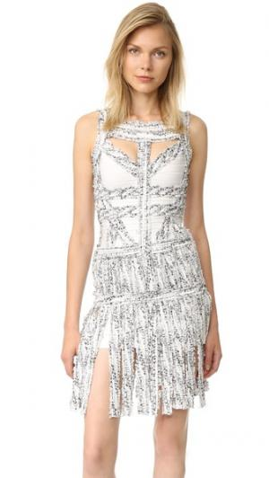 Платье Joseline с бахромой Herve Leger. Цвет: алебастр, комбинированный