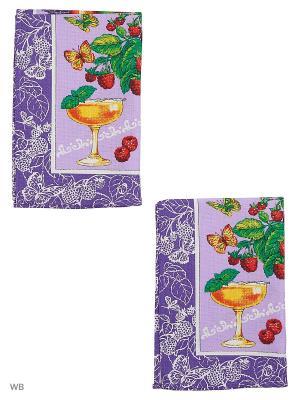 Набор полотенец вафельных кухонных Римейн. Цвет: малиновый, фиолетовый