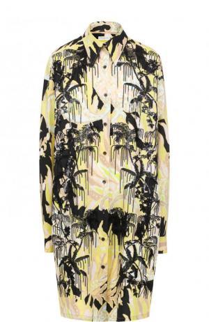 Хлопковое платье-рубашка свободного кроя с принтом Dries Van Noten. Цвет: желтый
