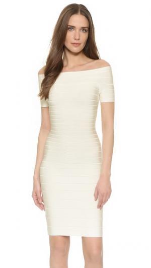 Платье Carmen с открытыми плечами Herve Leger. Цвет: алебастровый