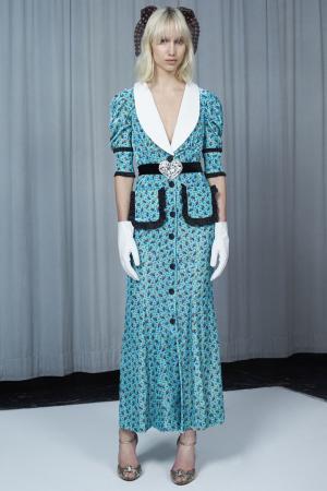 Платье с цветочным принтом Alessandra Rich. Цвет: голубой, белый, черный
