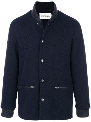 Knit Collar Herringbone bomber jacket Umit Benan. Цвет: синий