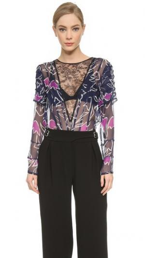 Плиссированная блуза с кружевной V-образной вставкой Nina Ricci. Цвет: голубой