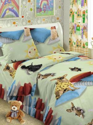 Детский комплект постельного Собачки, 1,5-спальный, наволочка 50*70, хлопок Letto. Цвет: зеленый