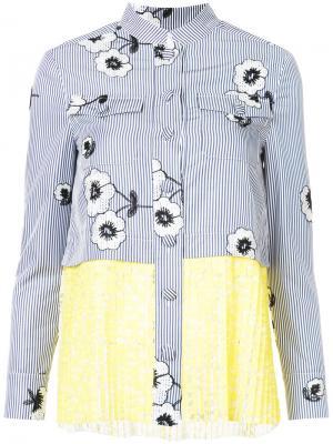 Рубашка с цветочным узором и плиссировкой Huishan Zhang. Цвет: синий