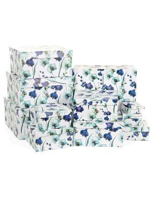 Набор из 11 картонных коробок 5,5*5,5*2,5-25,5*25,5*13см, Ирисы VELD-CO. Цвет: темно-синий, белый, лазурный