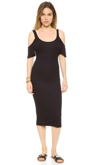 Платье из ткани в рубчик с развевающимися рукавами Enza Costa. Цвет: темно-синий