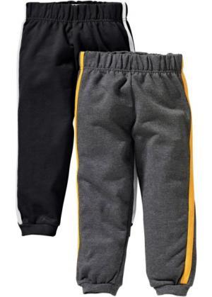 Трикотажные брюки (2 шт.) (черный + антрацитовый меланж) bonprix. Цвет: черный + антрацитовый меланж