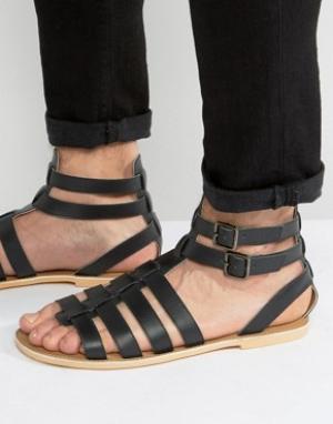 Frank Wright Черные кожаные гладиаторские сандалии. Цвет: черный