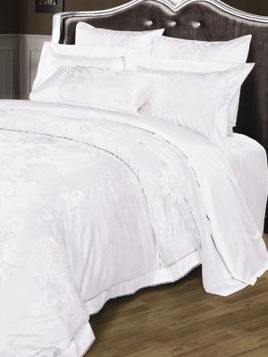 Постельное белье евро, жаккард. сатин, 2 нав. 50х70, белоснежный Asabella. Цвет: белый