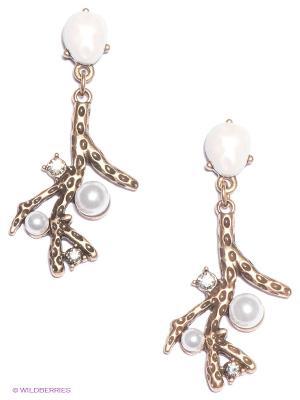 Серьги Milana Style. Цвет: бронзовый, белый