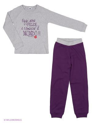 Пижама MANAI. Цвет: серый меланж, сливовый