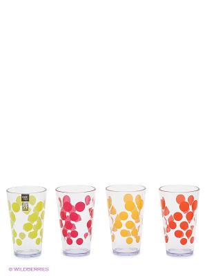 Набор стаканов Zak!designs. Цвет: прозрачный, желтый, зеленый, красный, оранжевый
