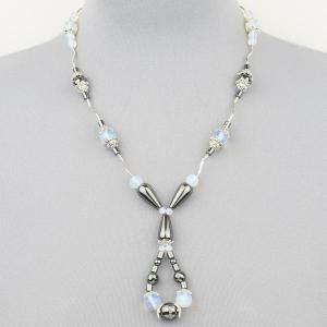 Авторские бусы Амелия лунный камень, гематит, КР-6428 Бусики-Колечки. Цвет: голубой