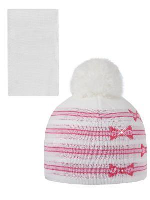 Шапка, шарф Pro-han. Цвет: белый, малиновый, розовый