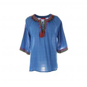 Блузка однотонная с круглым вырезом и рукавами 3/4 RENE DERHY. Цвет: синий