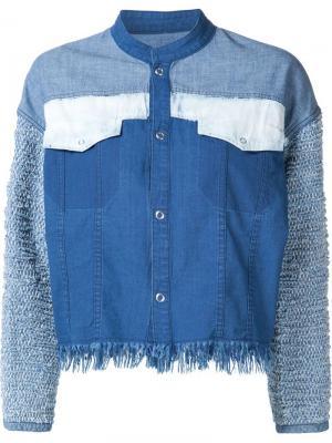Укороченная куртка с лоскутным дизайном Mame. Цвет: синий