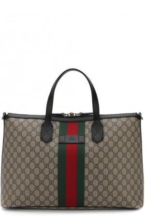 Дорожная сумка GG Supreme Web с плечевым ремнем Gucci. Цвет: бежевый