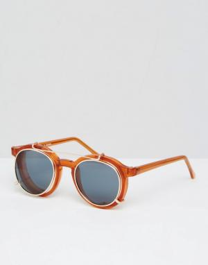 Spitfire Круглые солнцезащитные очки со съемными линзами. Цвет: коричневый