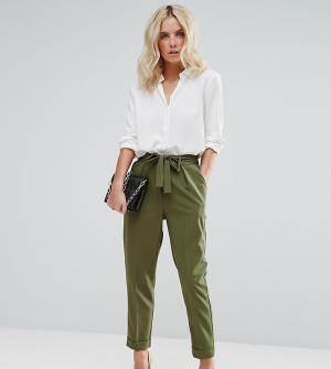 ASOS Petite Тканые брюки-галифе с поясом оби. Цвет: зеленый