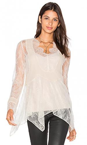 Кружевная блуза из шифона с плиссировкой Haute Hippie. Цвет: беж