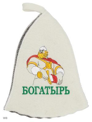 Шапка для бани с вышивкой в косметичке Богатырь Метиз. Цвет: белый, серый