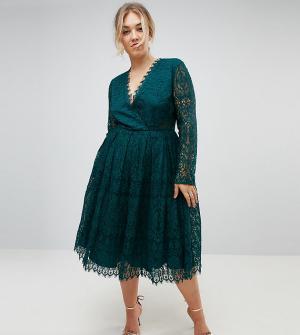 ASOS Curve Кружевное платье миди для выпускного с длинными рукавами. Цвет: зеленый