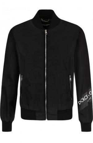 Бомбер на молнии с логотипом бренда Dolce & Gabbana. Цвет: черный