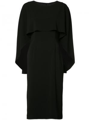Приталенное платье с накидкой Sally Lapointe. Цвет: чёрный