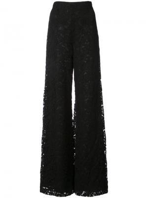 Кружевные широкие брюки Adam Lippes. Цвет: чёрный