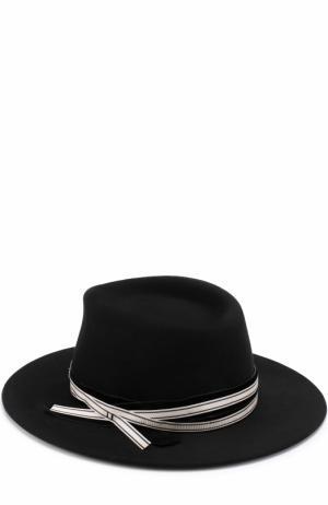 Фетровая шляпа с лентой Maison Michel. Цвет: черный