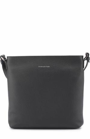 Кожаная сумка-планшет с внешним карманом Ermenegildo Zegna. Цвет: темно-синий