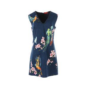 Платье прямое с V-образным вырезом и цветочным рисунком RENE DERHY. Цвет: наб. рисунок синий