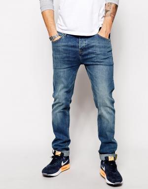 ASOS Эластичные узкие джинсы. Цвет: синий