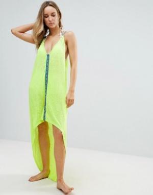 Pitusa Асимметричное пляжное платье. Цвет: желтый
