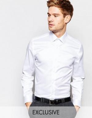 Number Eight Savile Row Рубашка скинни с заостренным воротником. Цвет: белый