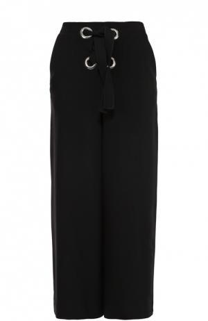 Укороченные широкие брюки с декоративной шнуровкой Proenza Schouler. Цвет: черный