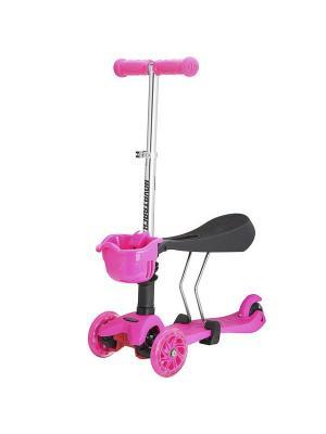 Самокат-кикборд Novatrack Disco-kids, детский трансформер, max 40кг, мигающие колеса, темно-синий. Цвет: розовый