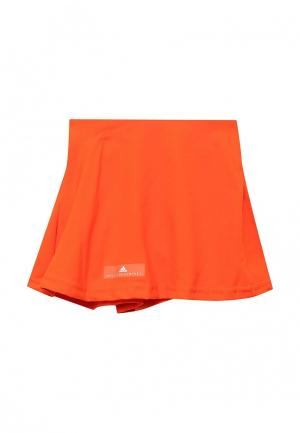 Юбка adidas Performance. Цвет: оранжевый