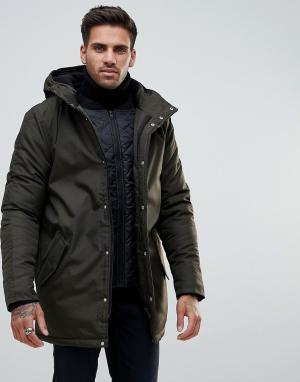Kronstradt Пальто с капюшоном. Цвет: зеленый