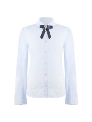 Блузка для девочки с длинным рукавом 7 одежек. Цвет: голубой, белый