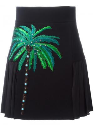 Юбка с вышивкой пальмы Fausto Puglisi. Цвет: чёрный