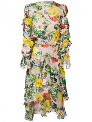 Платье Oriana с цветочным принтом Preen By Thornton Bregazzi. Цвет: многоцветный