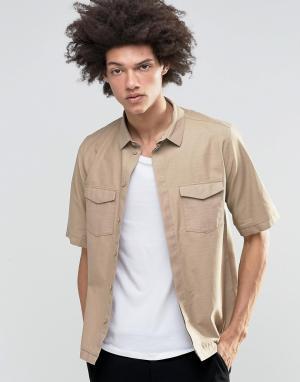 Weekday Бежевая рубашка с короткими рукавами Royal. Цвет: бежевый