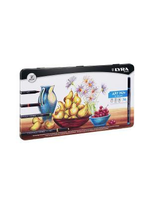 Lyra  hi-quality art pen, набор фломастеров металл коробка 50шт.. Цвет: белый, черный, желтый